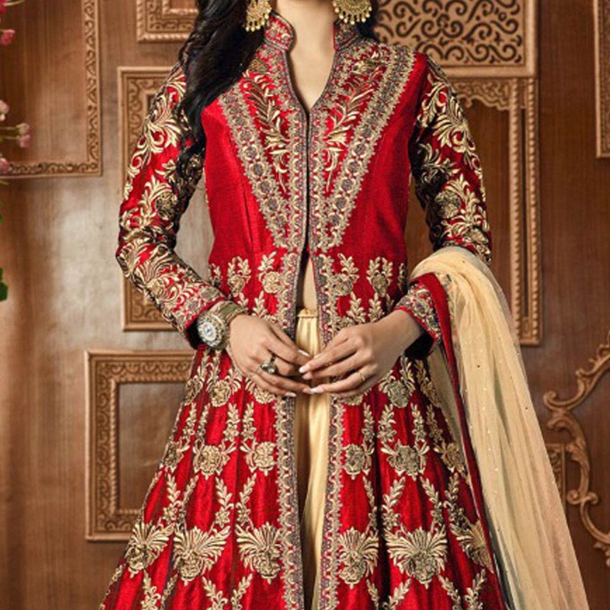 Red Cotton Silk Embroidered Work Lehenga Kameez