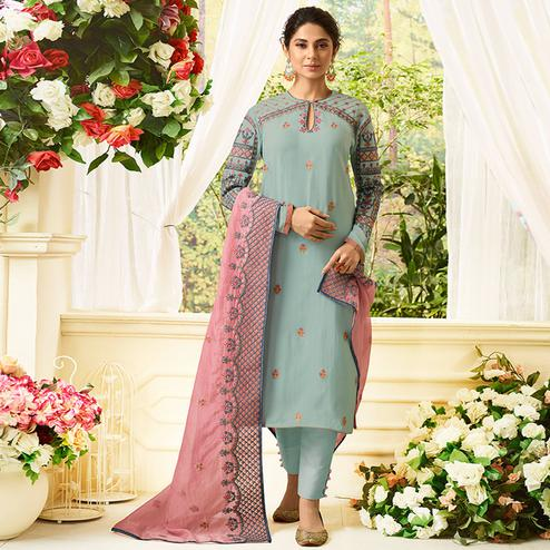 Imposing Mint Blue Colored Party Wear Embroidered Cotton Silk Suit