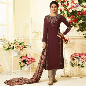 Blissful Wine Colored Party Wear Embroidered Cotton Silk Suit