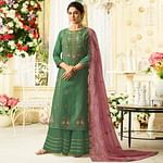 Ideal Green Colored Party Wear Embroidered Cotton Silk Palazzo Suit