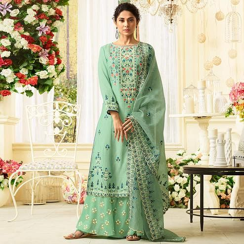 Engrossing Mint Green Colored Party Wear Embroidered Cotton Silk Palazzo Suit