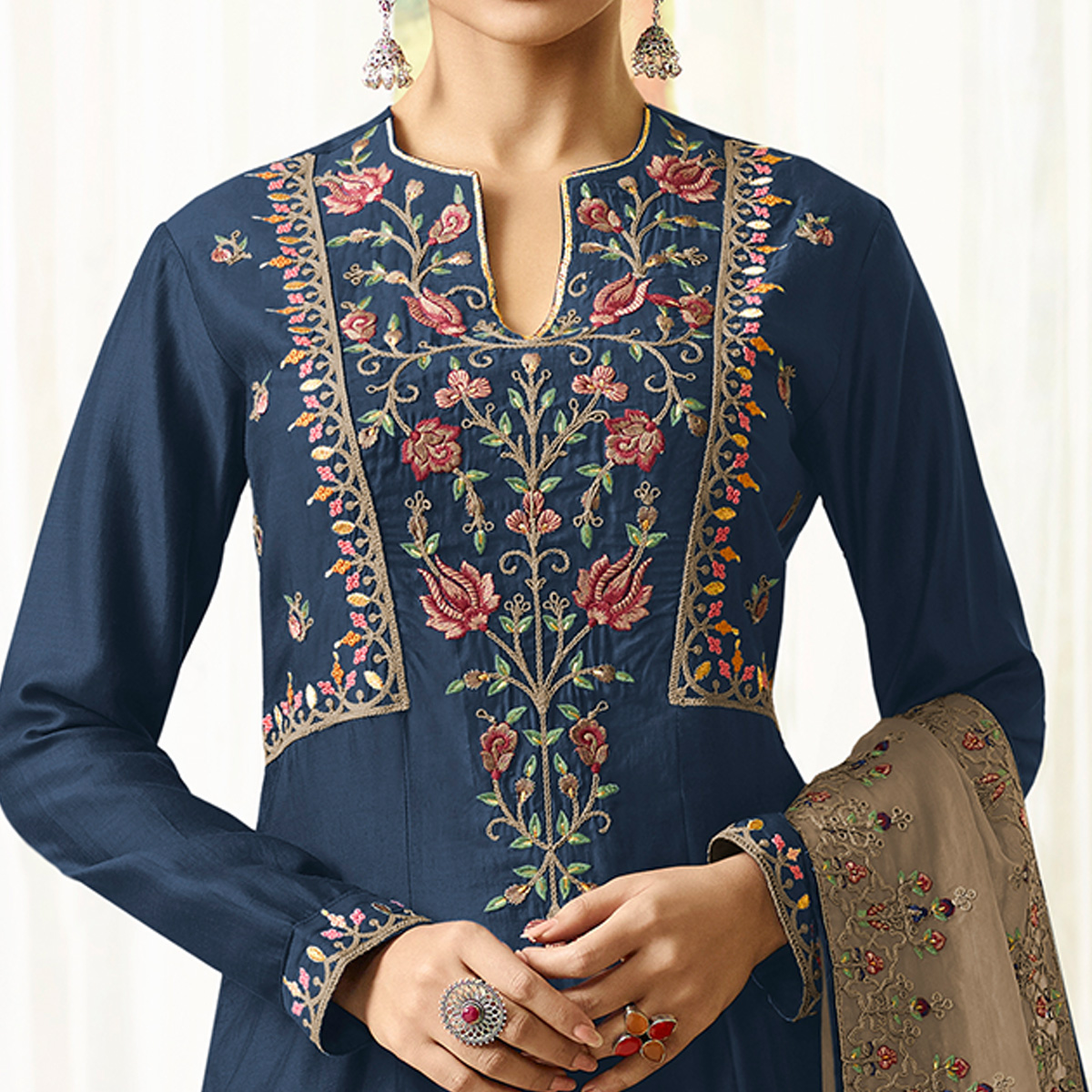 Fantastic Navy Blue Colored Party Wear Embroidered Cotton Silk Palazzo Suit