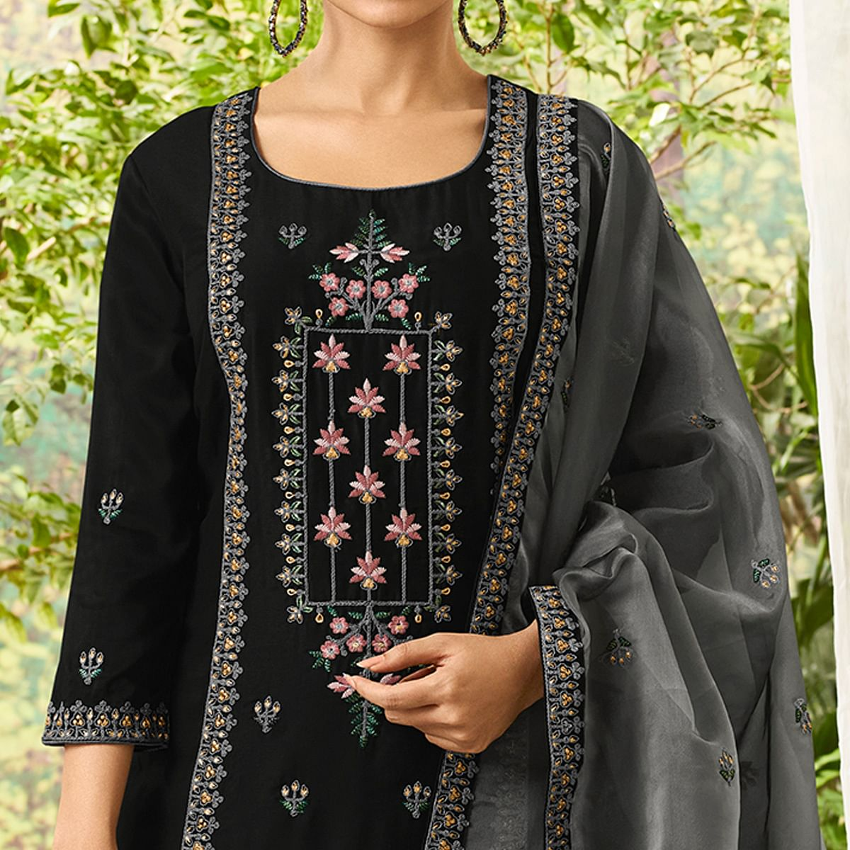 Pleasance Black Colored Party Wear Embroidered Cotton Silk Suit