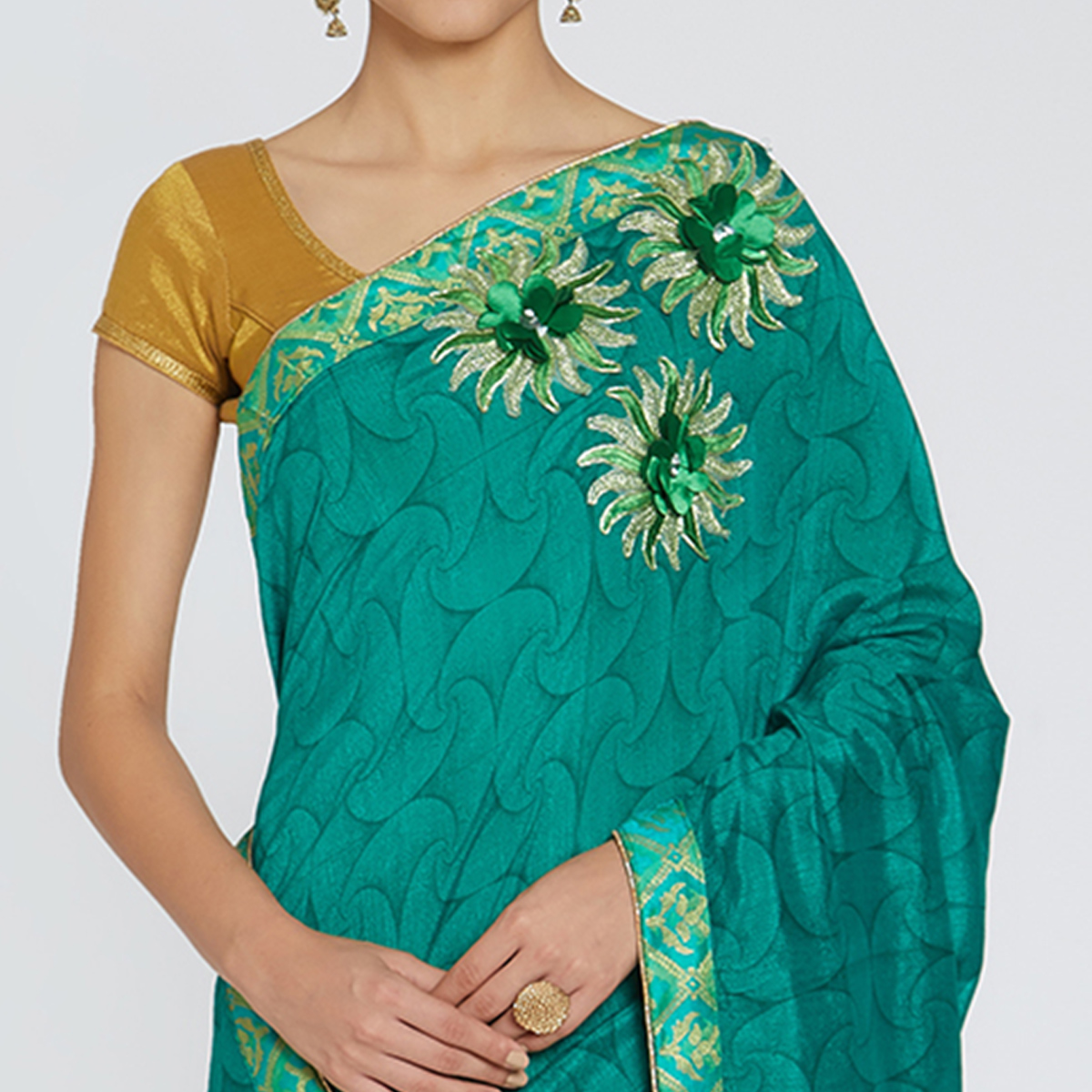 Intricate Turquoise Green Colored Party Wear Printed Georgette Saree