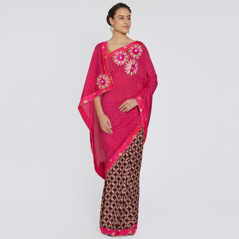 Desirable Pink Colored Party Wear Printed Georgette Saree