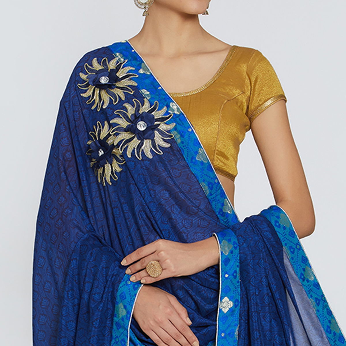 Demanding Navy Blue Colored Party Wear Printed Georgette Saree