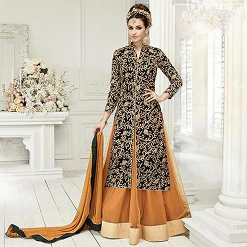 Stunning Black Designer Embroidered Georgette & Net Lehenga Kameez