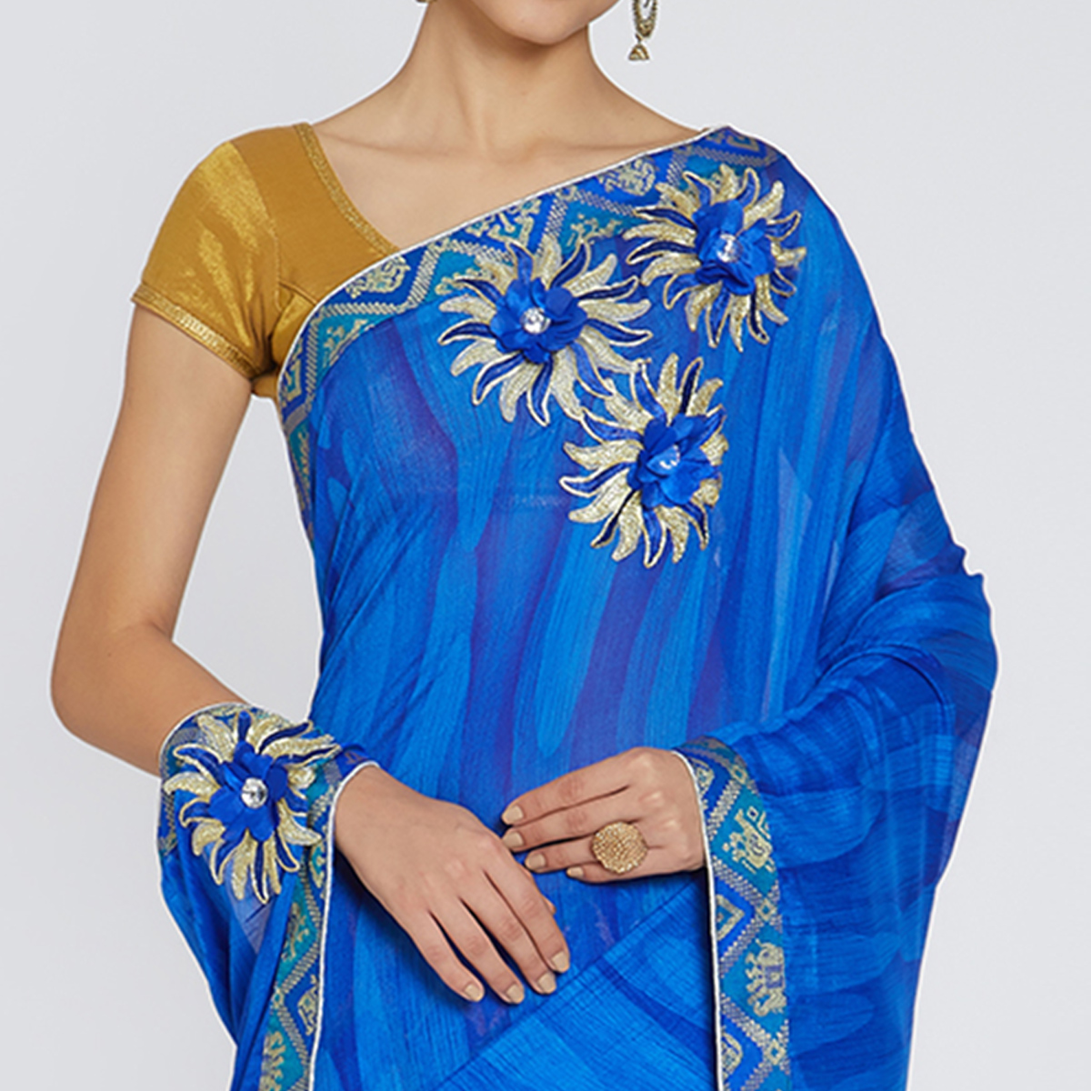 Pleasant Blue Colored Party Wear Printed Georgette Saree