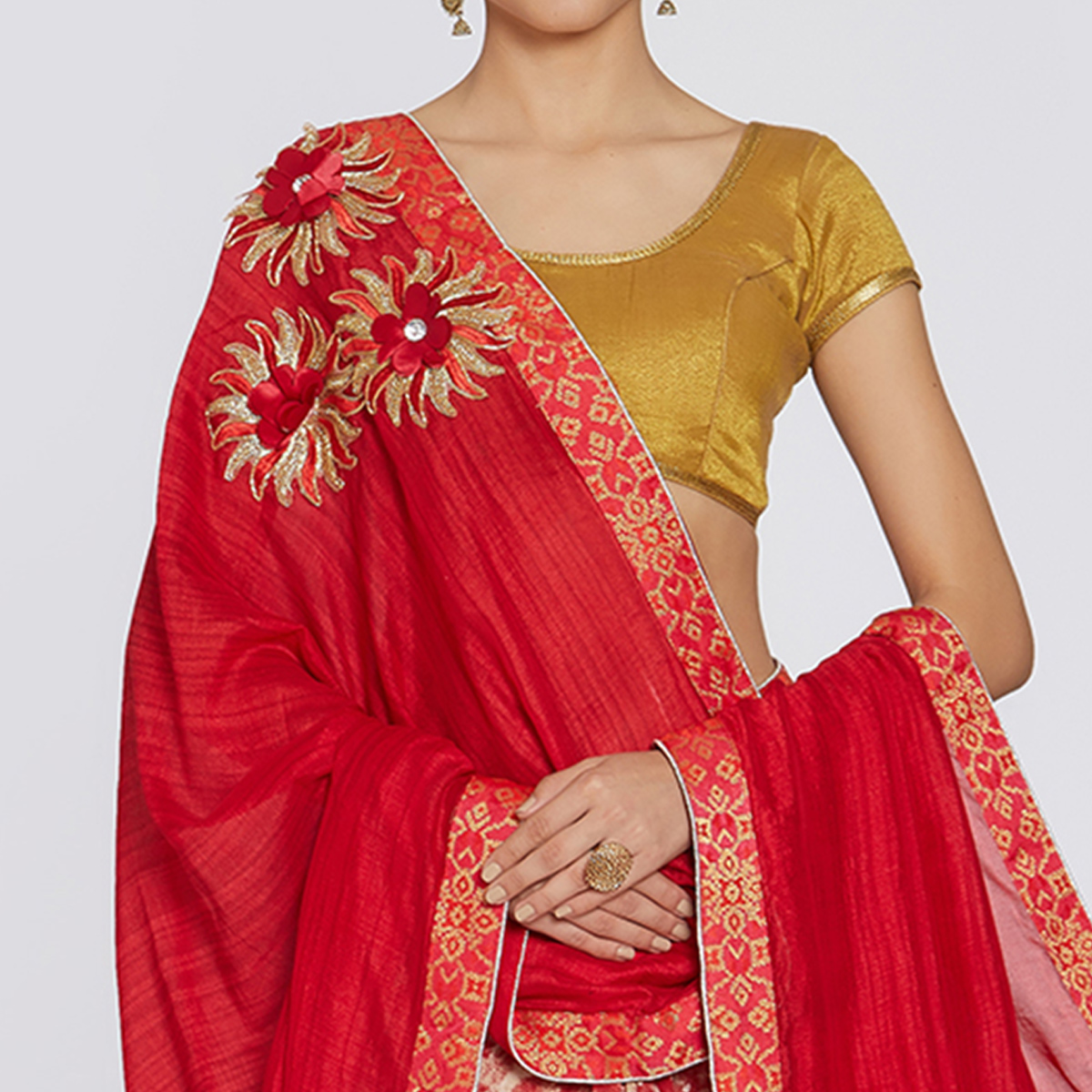 Elegant Red Colored Party Wear Printed Georgette Saree