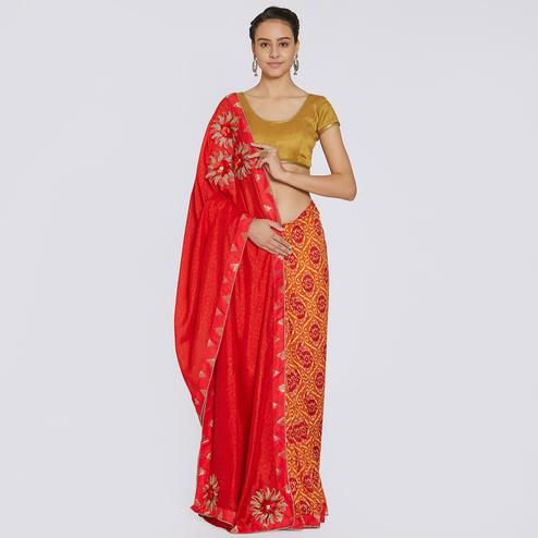 Alluring Red Colored Party Wear Printed Georgette Saree
