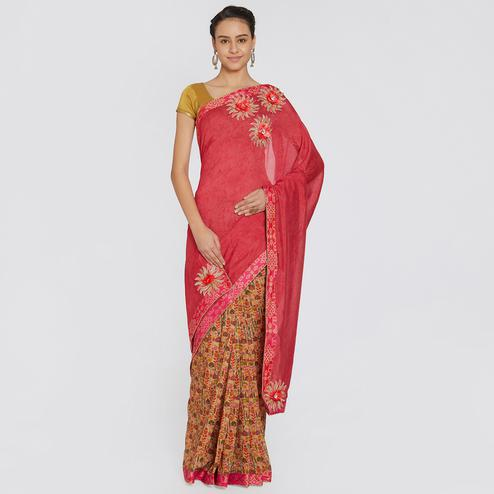 Radiant Pink Colored Party Wear Printed Georgette Saree