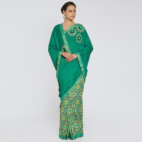 Sensational Green Colored Party Wear Printed Georgette Saree