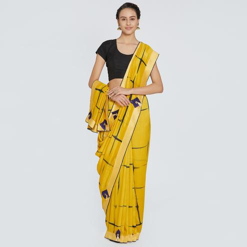 Delightful Yellow Colored Party Wear Printed Art Silk Saree