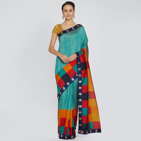 Stunning Teal Blue Colored Party Wear Embroidered Georgette Saree