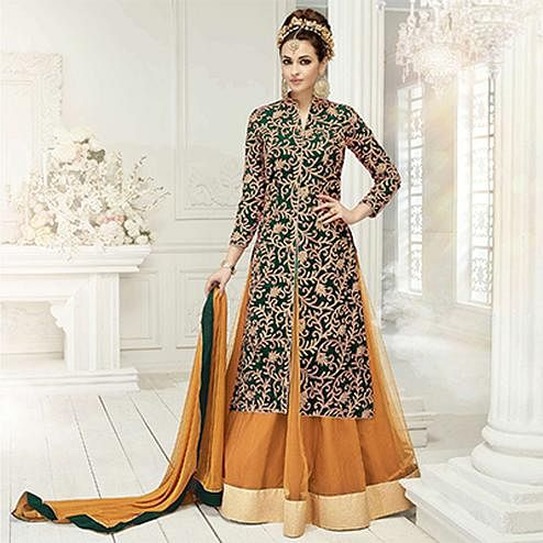 Stunning Green Designer Embroidered Georgette & Net Lehenga Kameez