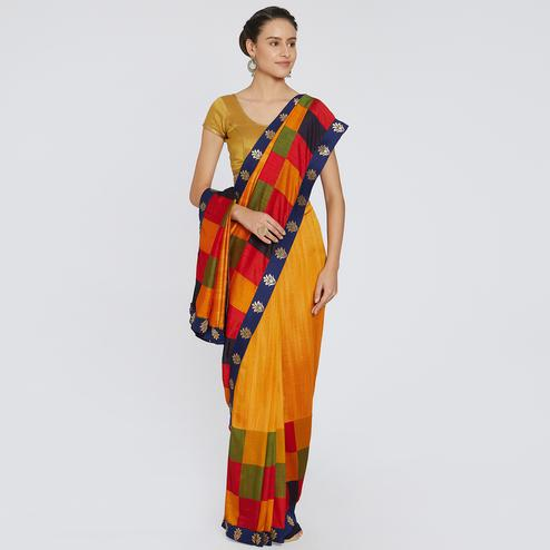 Blooming Yellow - Multi Colored Party Wear Embroidered Georgette Saree