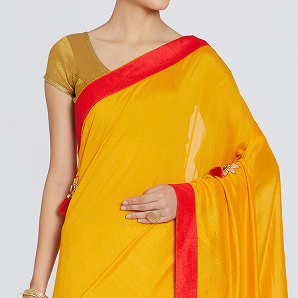 Marvellous Yellow Colored Party Wear Embroidered Chiffon Saree