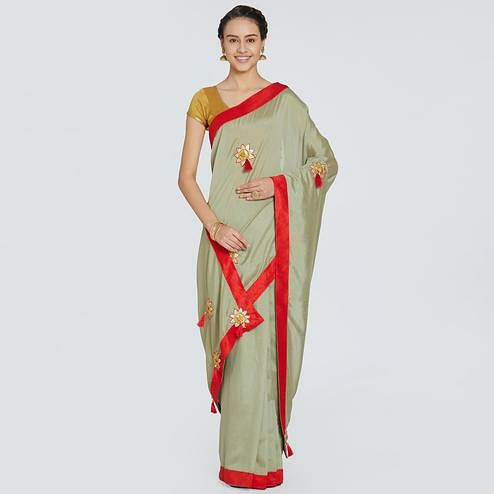 Mesmerising Grey Colored Party Wear Embroidered Chiffon Saree