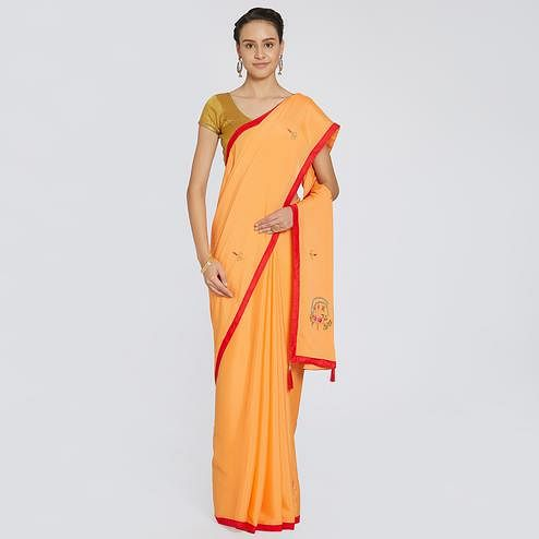 Eye-catching Yellow Colored Party Wear Embroidered Georgette Saree