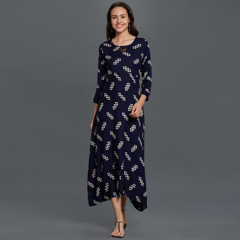 Groovy Navy Blue Colored Partywear Printed Rayon Long Kurti