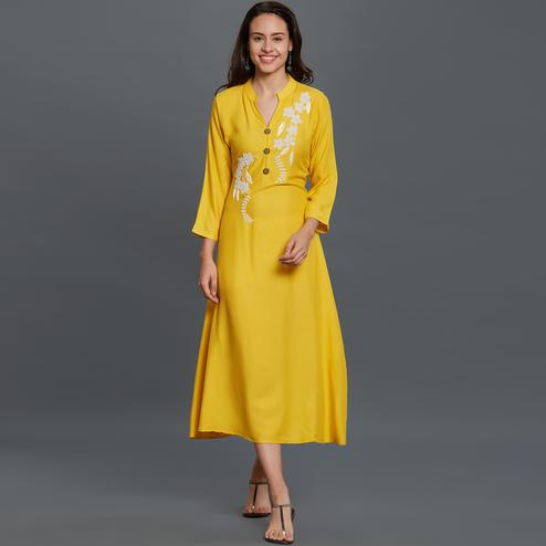 Trendy Yellow Colored Partywear Embroidered Rayon Long Kurti