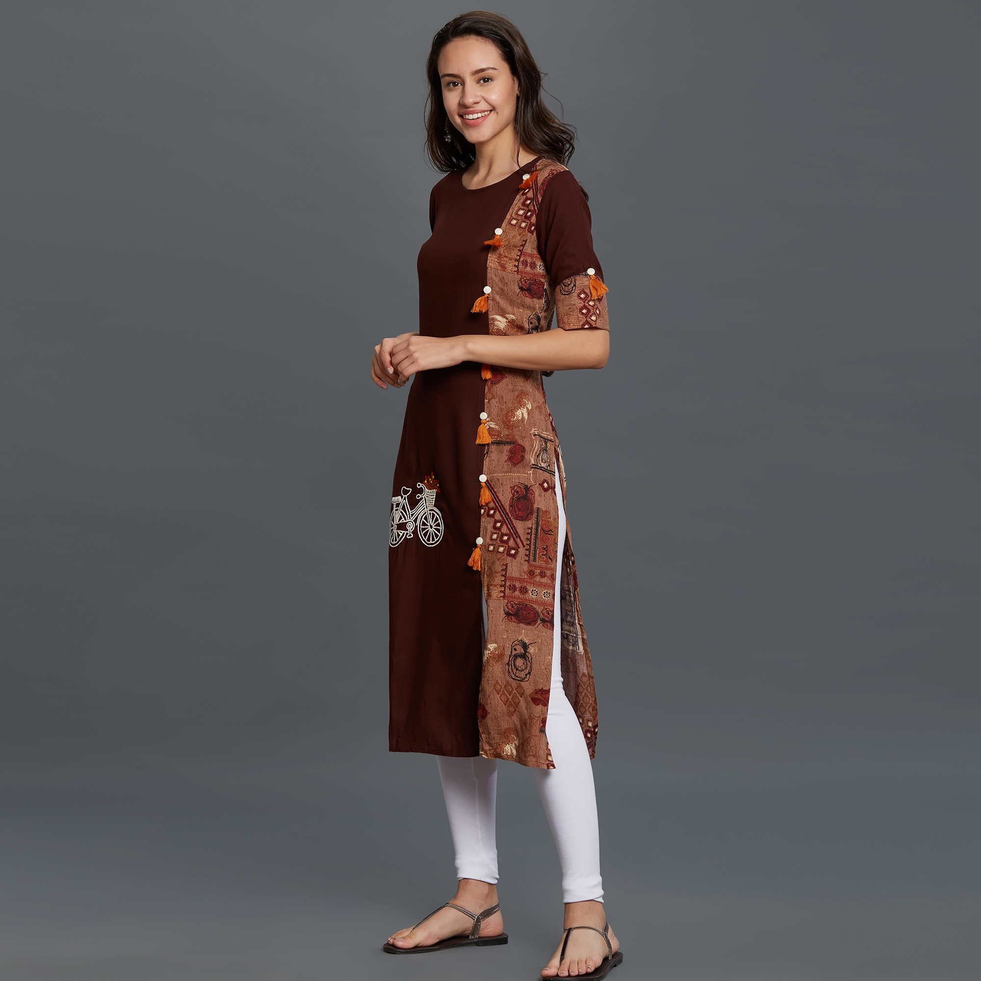 Stylish Brown Colored Partywear Printed Rayon Kurti