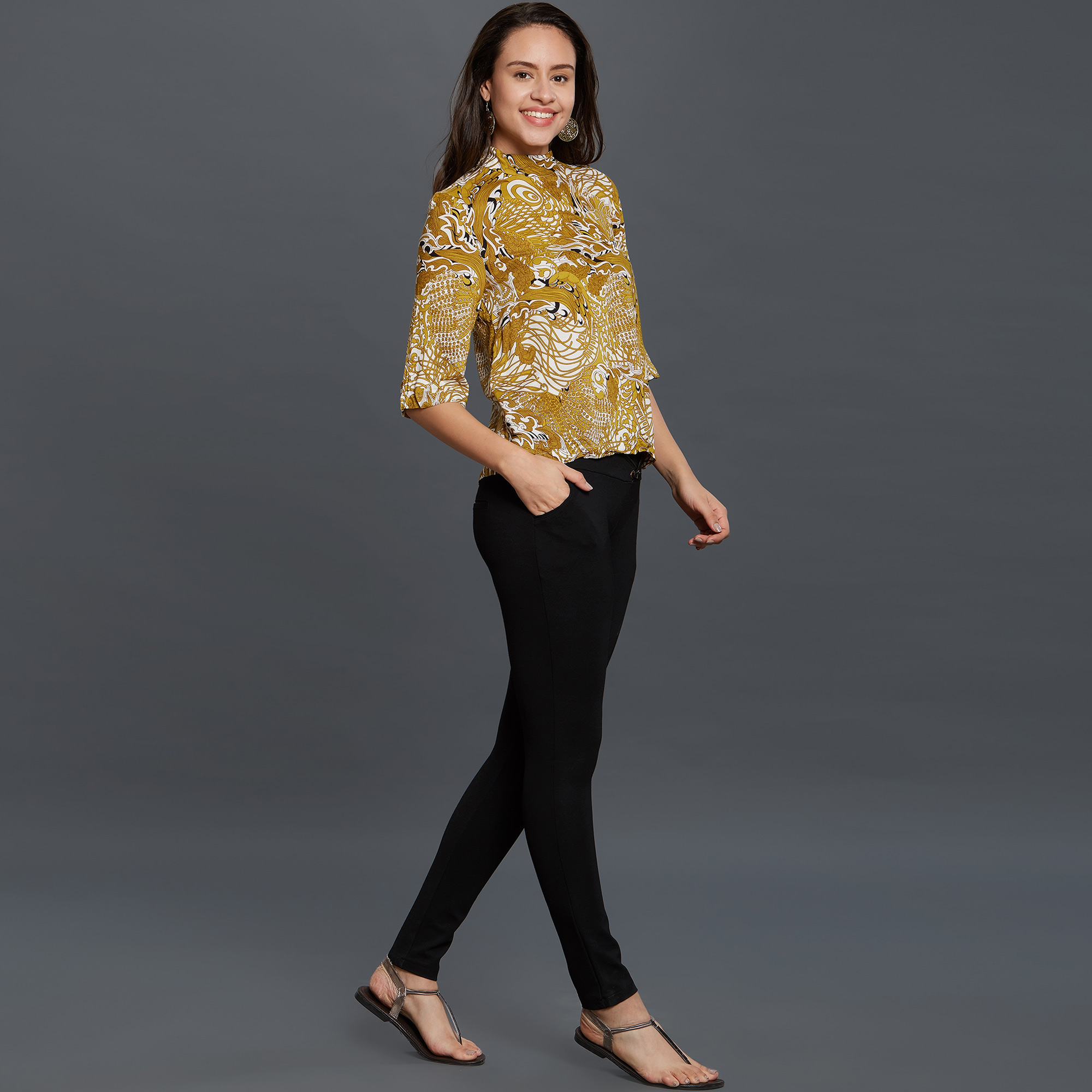 Marvellous Yellow Colored Casual Printed Rayon Top