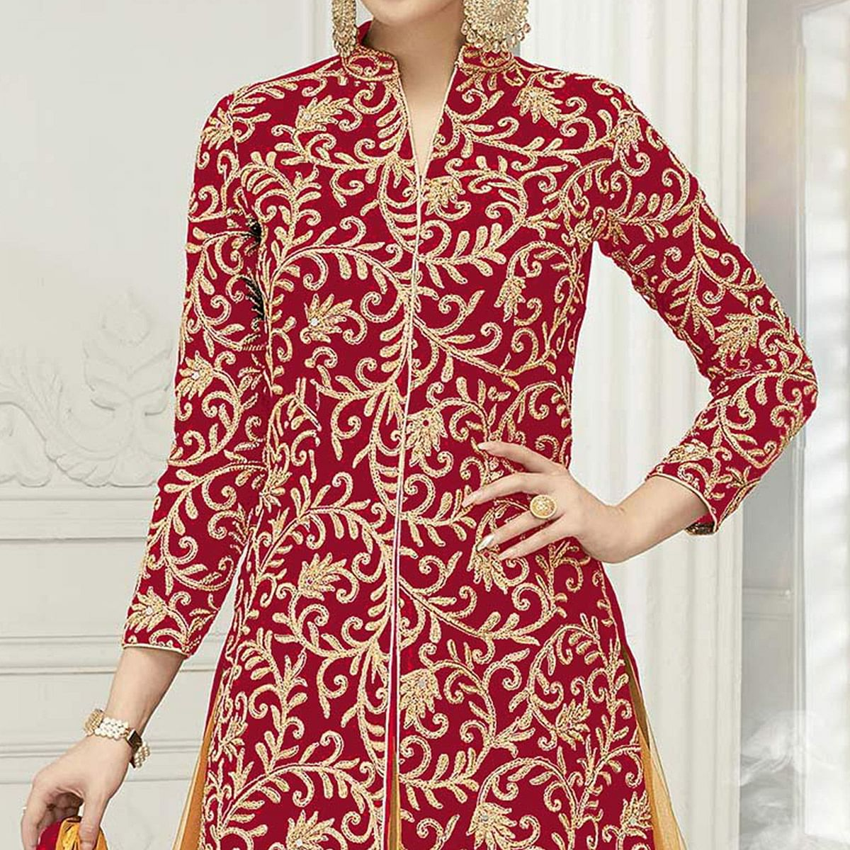 Stunning Red Designer Embroidered Georgette & Net Lehenga Kameez