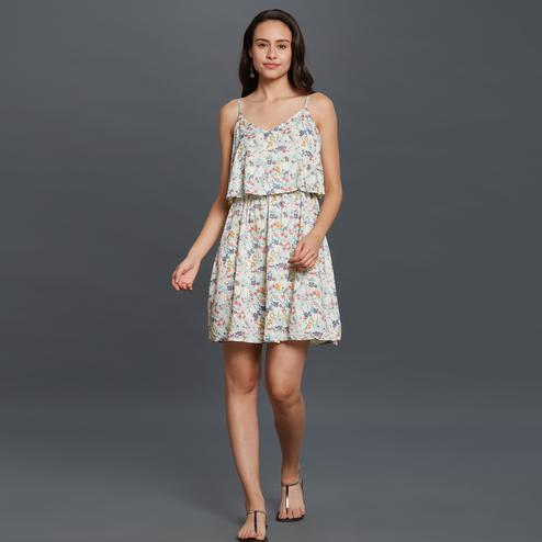 Impressive White Colored Casual Printed Rayon Western Dress
