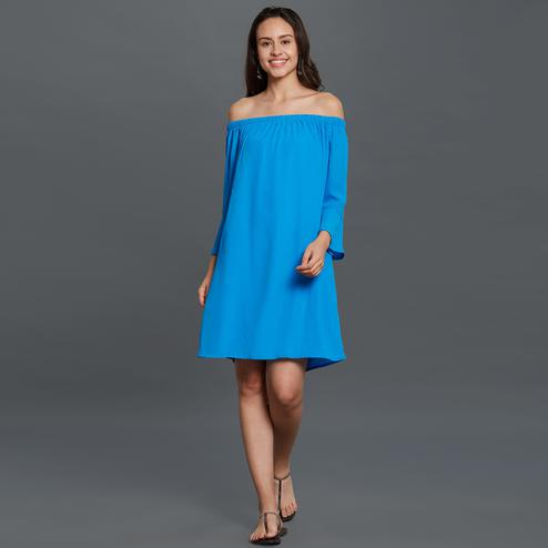 Flattering Sky Blue Colored Casual Wear Rayon Western Dress