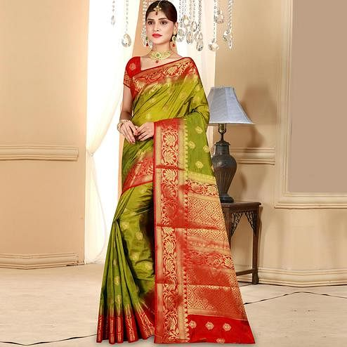 Elegant Olive Green Colored Festive Wear Woven Art Silk Saree