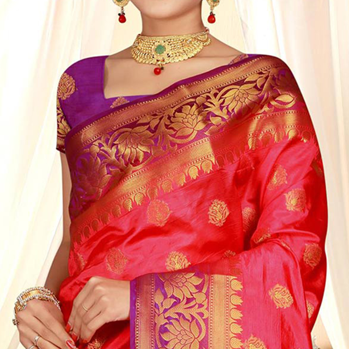 Attractive Fuschia Pink Colored Festive Wear Woven Art Silk Saree