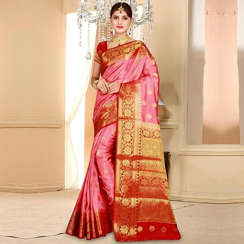 Mesmeric Pink Colored Festive Wear Woven Art Silk Saree