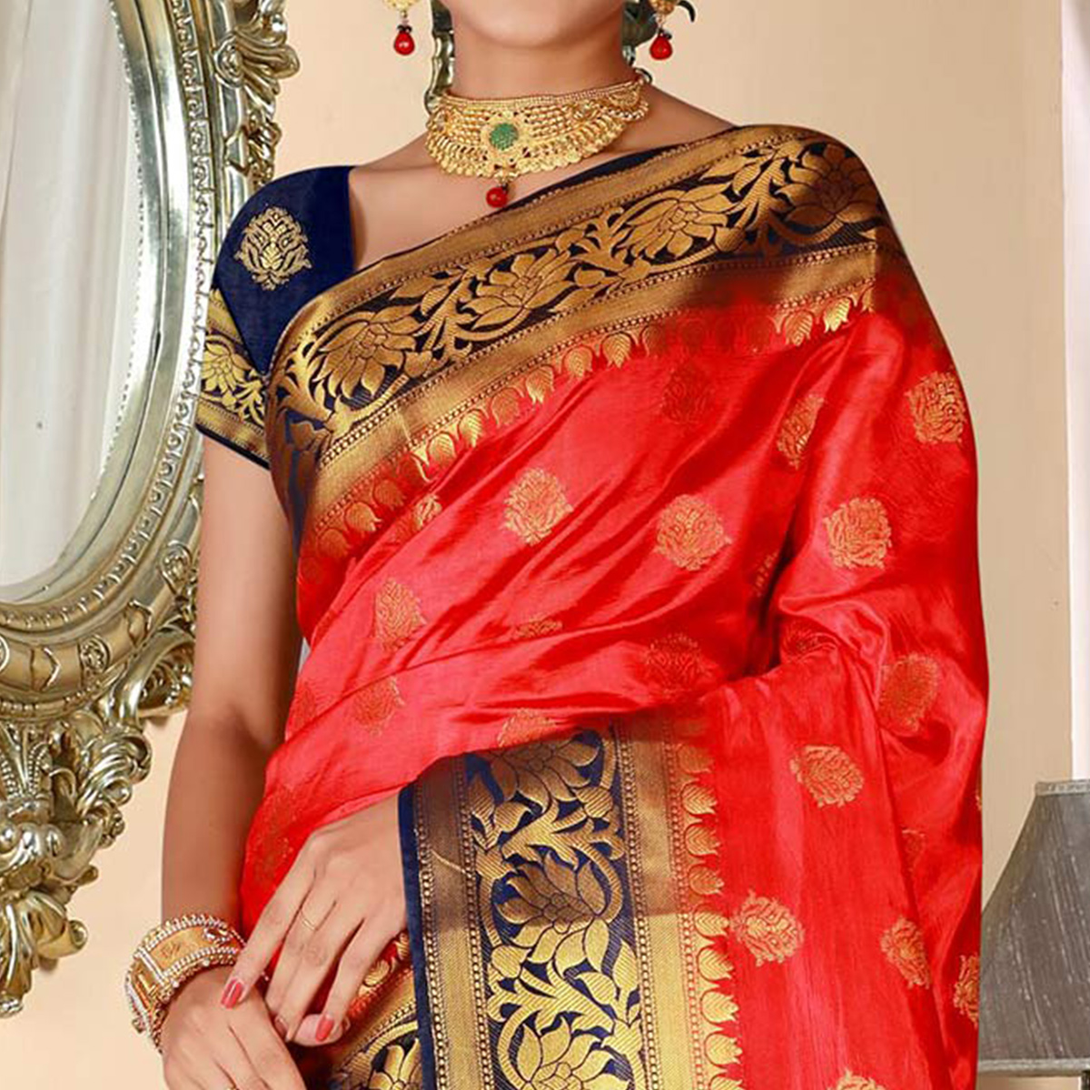 Magnetic Red Colored Festive Wear Woven Art Silk Saree