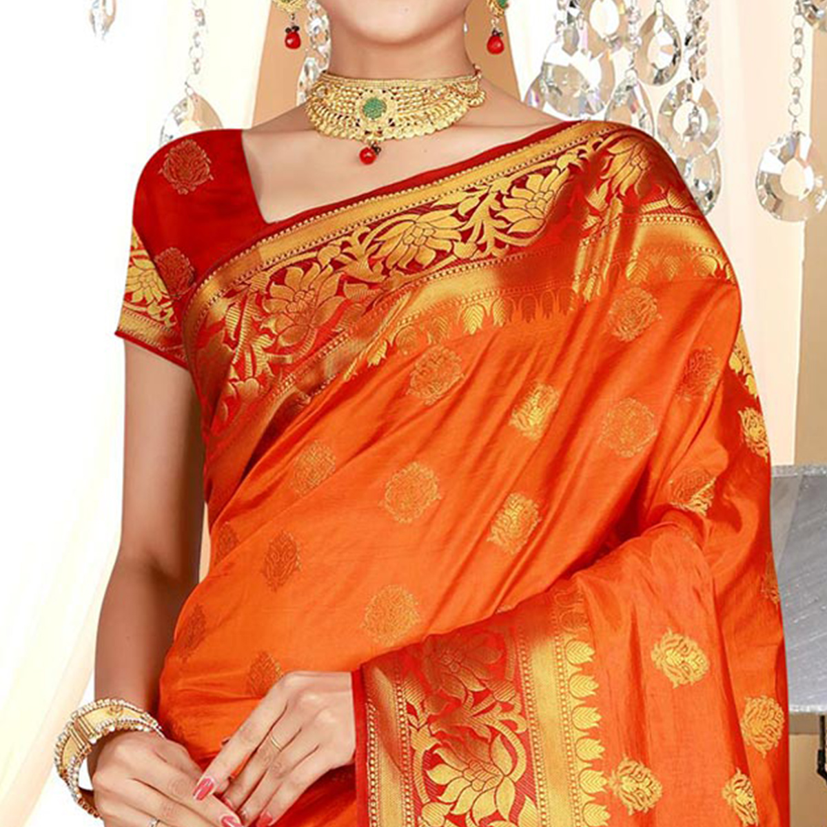 Flattering Orange Colored Festive Wear Woven Art Silk Saree