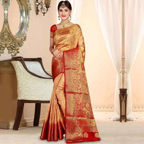 Appealing Beige Colored Festive Wear Woven Art Silk Saree