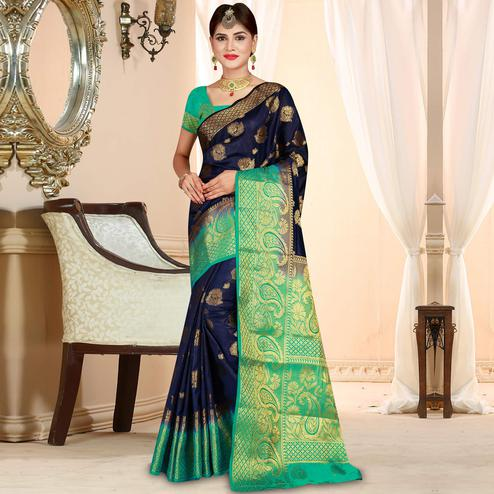 Impressive Navy Blue Colored Festive Wear Woven Art Silk Saree
