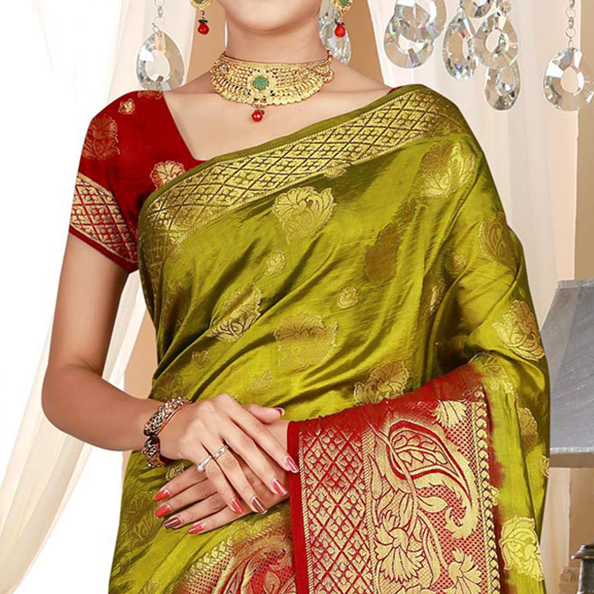Glowing Olive Green Colored Festive Wear Woven Art Silk Saree