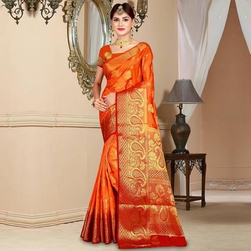 Blooming Orange Colored Festive Wear Woven Art Silk Saree