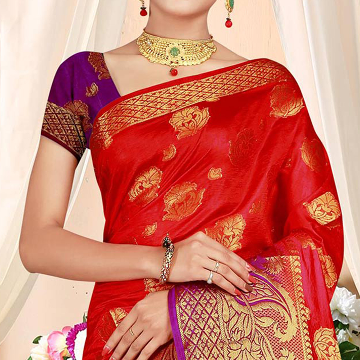 Sophisticated Red Colored Festive Wear Woven Art Silk Saree