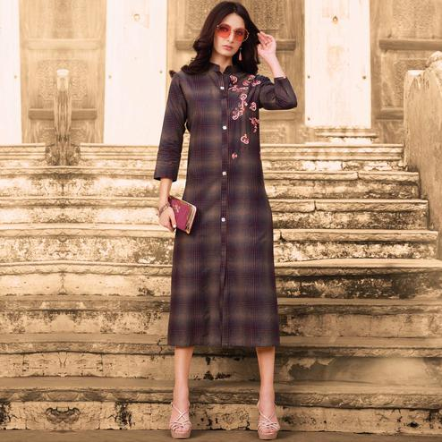 Exotic Dark Purple Colored Casual Wear Embroidered Cotton Kurti
