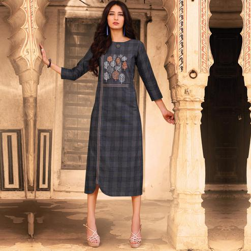 Majesty Grey Colored Casual Wear Embroidered Cotton Kurti