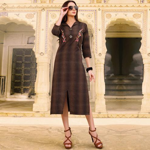 Preferable Brown Colored Casual Wear Embroidered Cotton Kurti