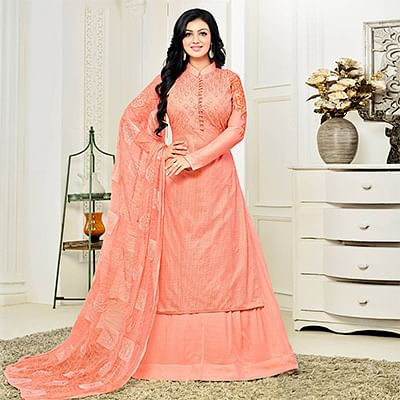 Classy Peach High Neck Embroidered Lehenga Kameez