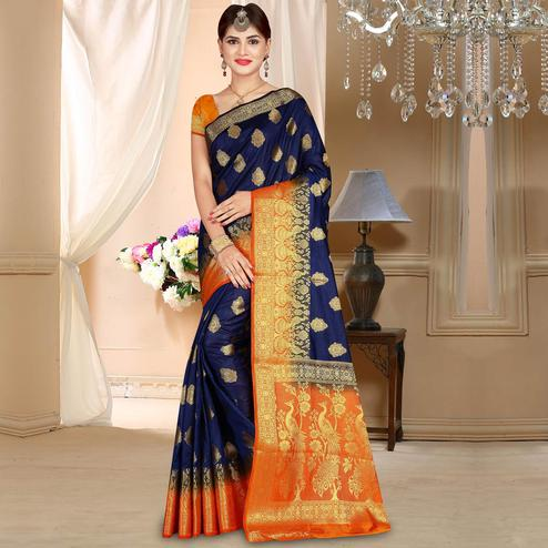Adorable Navy Blue Colored Festive Wear Woven Art Silk Saree