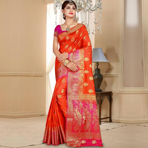 Attractive Orange Colored Festive Wear Woven Art Silk Saree
