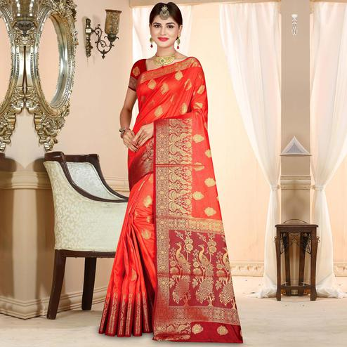 Beautiful Tomato Red Colored Festive Wear Woven Art Silk Saree