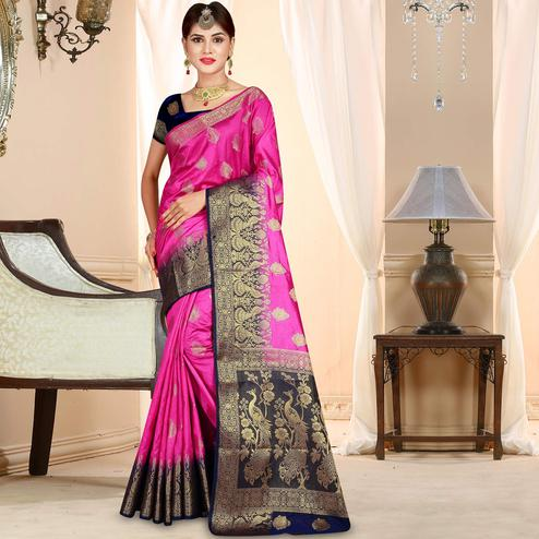 Gorgeous Rani Pink Colored Festive Wear Woven Art Silk Saree