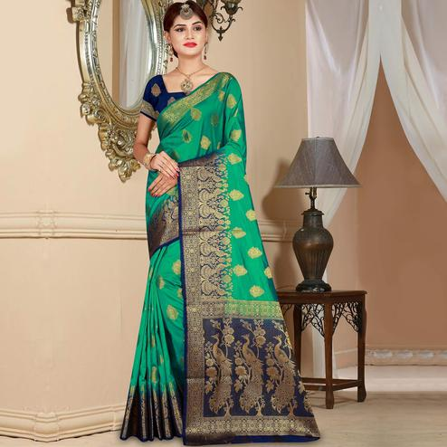Classy Green Colored Festive Wear Woven Art Silk Saree