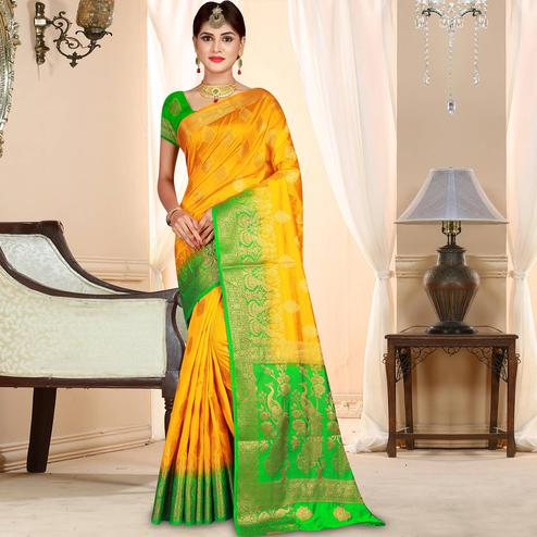 Glorious Yellow Colored Festive Wear Woven Art Silk Saree